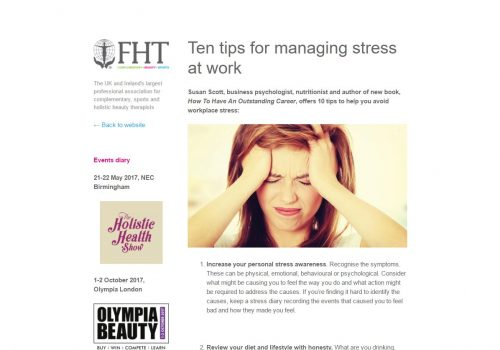 FHT - 10 Tips For Managing Stress At Work