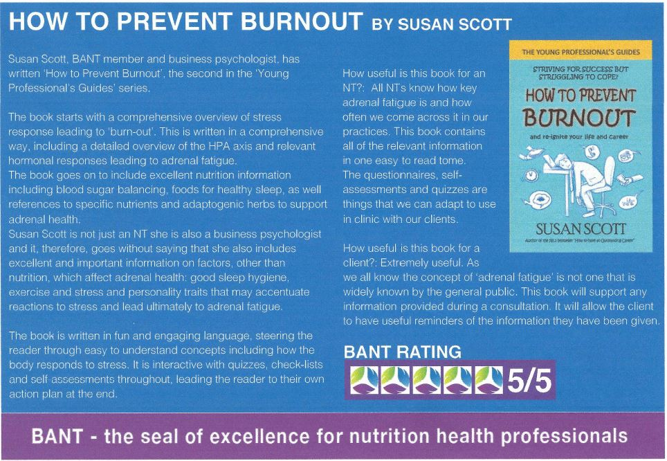 British Association of Nutritional Therapists review of How to Prevent Burnout